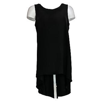スーザン砂利ドレスレギュラー織りの必需品こんにちは- 低ヘムチュニックブラックA379818