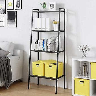 sogesfurniture Metal Mesh Ladder Shelf 4-Tier Bookshelf Storage Rack Display Shelving Unit