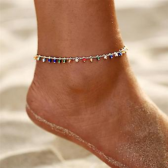 Eyes Anklets, Beads Summer Ocean Beach Ankle Bracelet, Foot Leg Jewelry