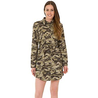 Camouflage Army Shirt Dress - Green