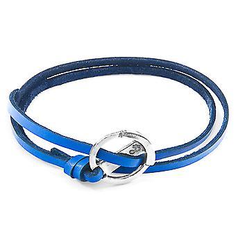 ANCHOR & CREW Ketch Anker Zilveren en platte lederen armband