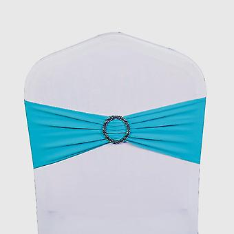 Spandex Elastic Chair Sash Band With Buckle For Wedding Banquet Party Metallic