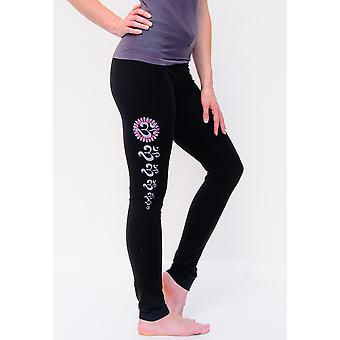 Asana Hand Painted Black Yoga Leggings - Full Length High Waisted