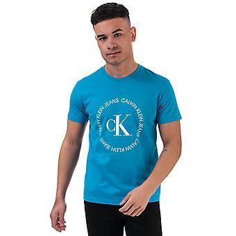 Men's Calvin Klein Round Logo T-Shirt in Blue