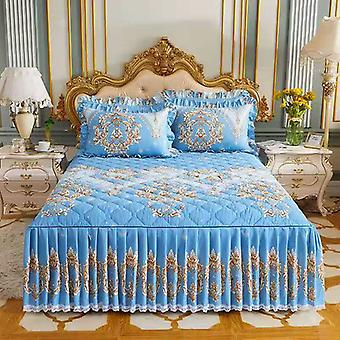 3 Pcs Winter Thicken Quilted Quality Bed Skirt Spread Queen King Size Home
