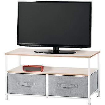 HanFei TV Board mit Ordnungsboxen – schmaler Fernsehtisch mit Ablage und 2 Stoffkrben –