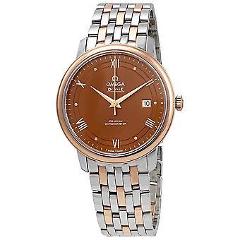 Omega De Ville Prestige Automatic Chronometer Brown Dial Two-Tone Men's Watch 424.20.40.20.13.001