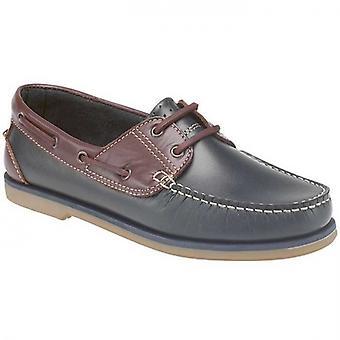DEK River Mens Leather Moccasin Boat Shoes Navy Blue/brown