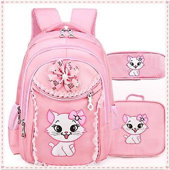 Mode skolväskor för flickor 2020 söt söt tecknad prinsessa katt barn ryggsäck spets bokväska