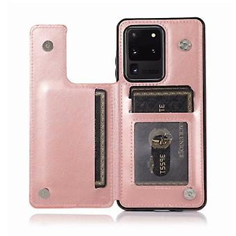 WeFor Samsung Galaxy S20 Ultra Retro Flip LäderVäska Plånbok - Wallet PU Läderfodral CasFodral Rosa