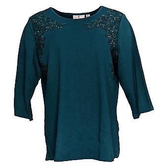 Quacker Factory Women's Top Lace Front Knit Rhinestones Green A309669