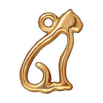 Ciondolo peltro, Silhouette gatto 15mm, placcato oro, 1 pezzo, di TierraCast