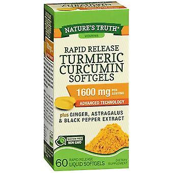 Nature's Truth Nature's Truth Rapid Release Turmeric Curcumin, 1600 mg, 60 Tabs