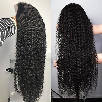 30 40 Inch curly human hair deep wave frontal wig pre plucked brazilian wet and wavy water wave hd lace front
