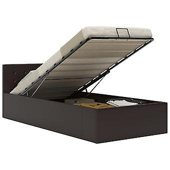 vidaXL سرير التخزين الهيدروليكي رمادي الجلود الاصطناعية 90×200 سم