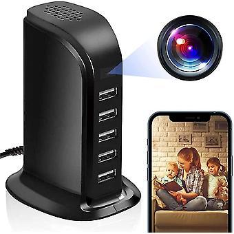 Spy WiFi USB Nabíječka Skrytá kamera 5 USB Porty USB Hub Ca Cam 1080p HD Bezdrátový záznam videa, Vhodný pro bezpečnostní kamery pro domácnosti a kanceláře - s detekcí pohybu (černá)