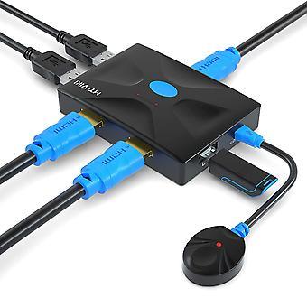USB HDMI KVM Switch 2 Ports + U Disk Hub, 4K KVM Switcher Umschalter mit KVM Kabel