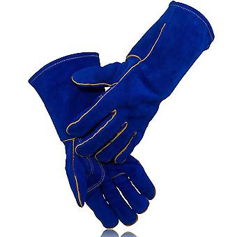 Lengthened Cow Leather Welding Gloves Heat Resistant Anti Cut Gloves