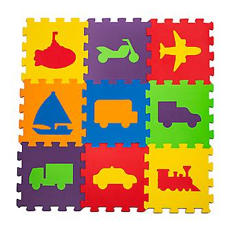 Matrax Eva Puzzle Play Mat, Automobile Toys 33Cm X 33 Cm X 7 Mm, 9 Pieces, Bpa Free, Safe, Educational And Brain Training Toy For Kids