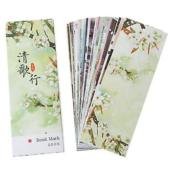 30pcs/box Creative Chinese Style Paper Bookmarks Painting Cards  Retro Beautiful Boxed Bookmark