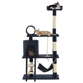 Chunhelife Cat Tree With Sisal Scratching Posts 140 Cm Dark Blue