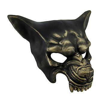 Snarling Wolf Metallic Half Face Costume Mask