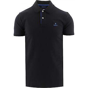 GANT Schwarz Kontrastkragen Pique Rugger Polo Shirt