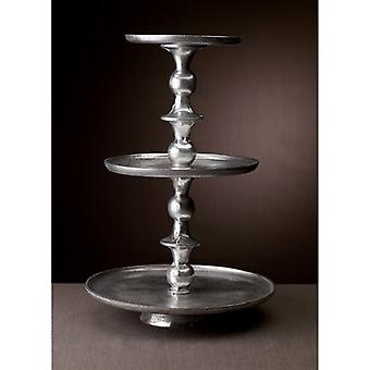 Round Silver Polished Three Tier Stand