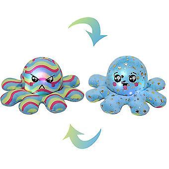 Leuchtendes doppelseitiges Oktopus-Plüsch-Spielzeug, Pailletten bedruckter Oktopus mit Licht (Blau)