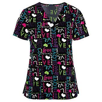 المرأة لطيف الكرتون طباعة التمريض الدعك قمم تي قميص الزي الرسمي عارضة