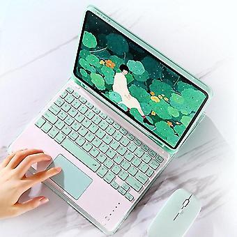 Qwert Trådløst tastatur til iPad Pro 11-tastatur med Touchpad til candy color læder (grøn)