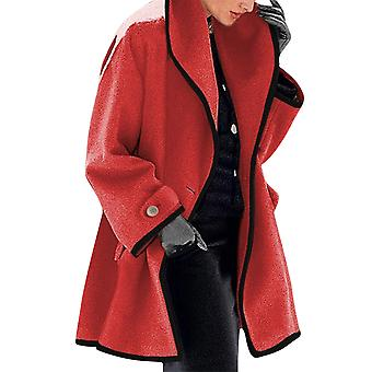Allthemen Women's Premium Pure Color Simple Autumn & Winter Hooded Mid-length Coat