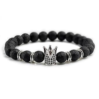 8Mm kő gyöngyök karkötő neki és neki felvázoló király és királynő témák (Silver Crown Style 2)