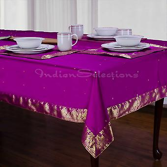 Violet Red - Handmade Sari Tablecloth (India)