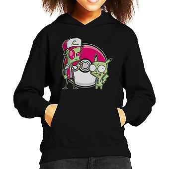 PoGIRmon Invader Zim Pokemon Kid de Hooded Sweatshirt