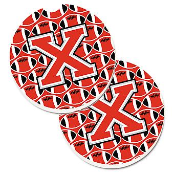 Letter X Football Scarlet and Grey Set of 2 Cup Holder Car Coasters