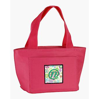 Letter N Flowers Pink Teal Green Initial Lunch Bag