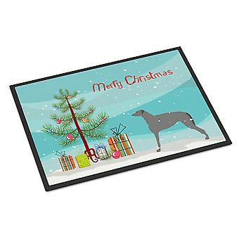 Scottish Deerhound Merry Christmas Tree Indoor or Outdoor Mat 18x27