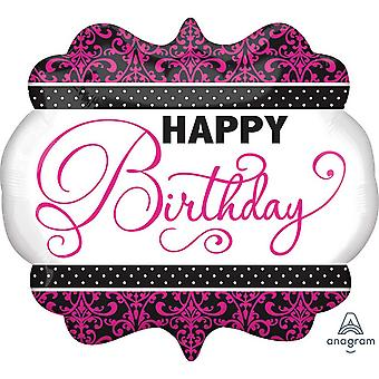 Anagram Supershape Black, Pink And White Happy Birthday Foil Balloon
