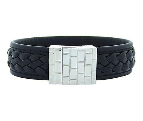 Christian Leather Black Yarn White Clasp
