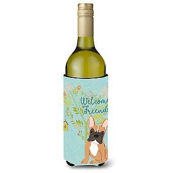 Welcome Friends Fawn French Bulldog Wine Bottle Beverge Insulator Hugger
