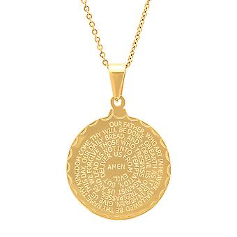 Ladies Double Sided 18K Gold Plated Lord'S Prayer & Serenity Pendant