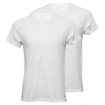 Calvin Klein 2-Pack ren bomull Crew-hals t-skjorter, hvite