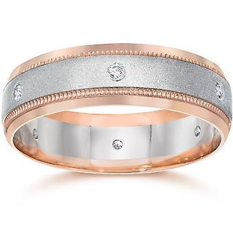 Diamant Herren zwei Ton 14K Rose Gold Ehering