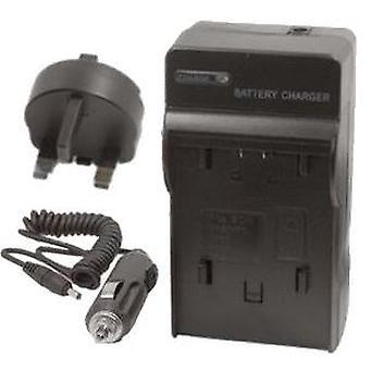 Cargador de viaje (Reino Unido red enchufes y coche) Sanyo DB-L90 rápido 1-2hr batería para Sanyo Xacti VPC-SH1, VPC-SH1EX, VPC-SH1GX, VPC-SH1PX, VPC-SH1TA