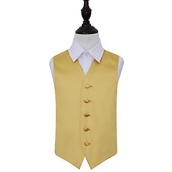 Gold Plain Satin Wedding Waistcoat for Boys