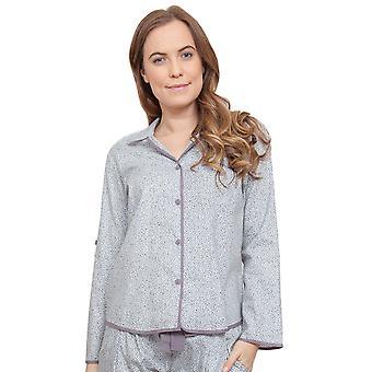 Sienna feuilles gris impression pyjama Pyjama Top Cyberjammies 3772 féminines