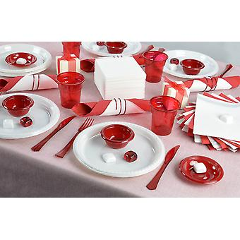 Elegant party dish set for 24 guests red white 255-teilig party package