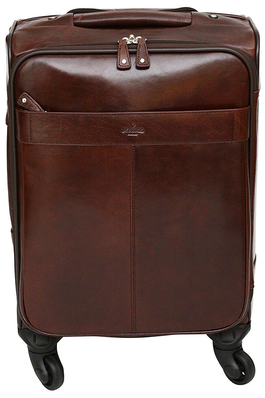 S Babila Leather Spinner Trolley Hand Luggage 14
