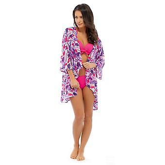 Womens Summer Floral Print Sleeved Chiffon Kimono Various Colours & Sizes